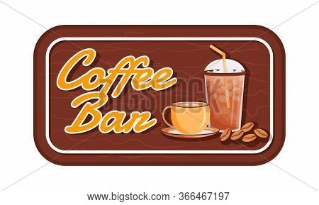 Coffee Bar Flat Color Vector Label. Iced And Hot Drinks Packaging Sticker. Cold Americano. Summer Ca
