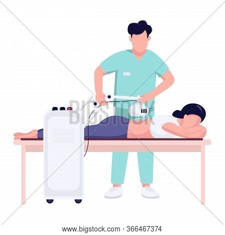 Woman Back Pain Treatment Flat Color Vector Faceless Character. Spinal Injury Physiotherapy With Ort
