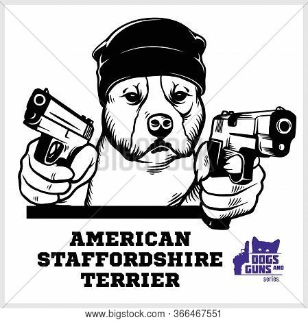 American Staffordshire Terrier Dog With Two Pistols And Cigar - American Staffordshire Terrier Gangs