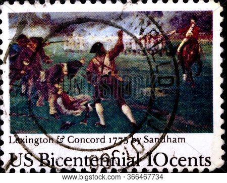 02 08 2020 Divnoe Stavropol Krai Russia The Postage Stamp Usa 1975 The 200th Anniversary Of American