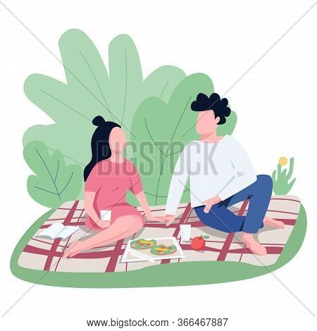 Romantic Date Outdoors Flat Color Vector Faceless Characters. Sweethearts Enjoying Picnic In Park, L