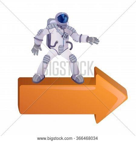 Cosmonaut On Right Arrow Flat Cartoon Vector Illustration. Spaceman, Astronaut In Spacesuit. Ready T