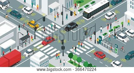 Smart Transportation, People And Vehicles Moving In The City Streets Using Sensors, Iot And Smart Ci