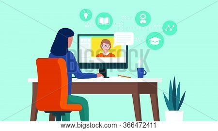 Woman Connecting With Her Computer At Home And Following Online Courses, Distance Learning Concept