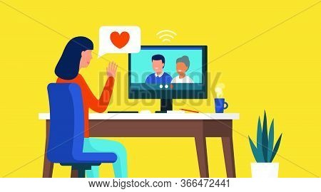 Woman Connecting With Her Computer At Home And Videocalling Her Family, Relationships And Communicat