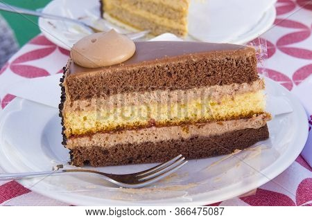 Slice Of Chocolate Cake And Coffee Mousse