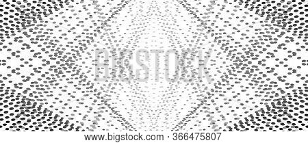Symmetric Pattern Of Black, Gray Points. Intersecting Straight Dotted Lines. Rhombus Shape Of Small
