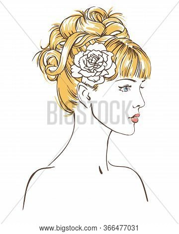 Young Women In Profile, Hand Drawn Scetch Fashion Vector Illustration For Bridal Shower.