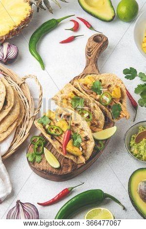 Mexican Cuisine - Mexican Tacos Al Pastor, Pork Meat, Corn Tortillas, Chili Pepper, Pineapple, Avoca