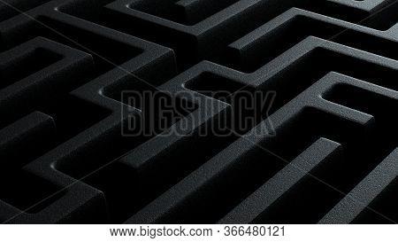 3d Illustration Closeup Of Dark Black Labyrinth Maze Pattern With Textured Stone Walls