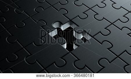 3d Illustration Of Puzzle Dark Black Pieces Background Texture With Missing Piece In The Center Conc