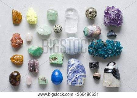 Beautiful Bright Multi-colored Collection Of Natural Stones And Minerals From Around World Lies On W