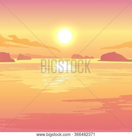 Nature Vector Background, Landscape With Mountains And Sun. Panorama Of Mountains, Wilderness, Sands