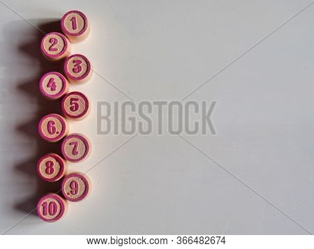 Russian Lotto, Bingo Board Game, Barrels And Cards On A White Background. Quarantine Games Concept.