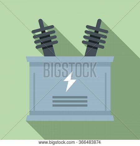 Electric Transformer Icon. Flat Illustration Of Electric Transformer Vector Icon For Web Design