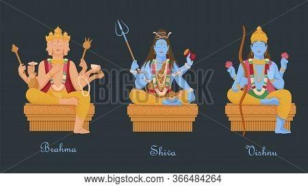 Gods Of Hinduism Vishnu, Shiva, Brahma. Three