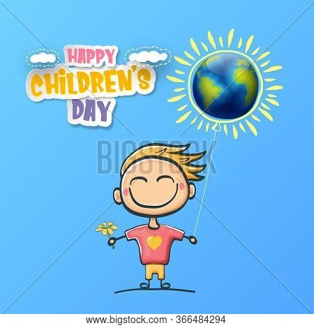 1 June International Childrens Day Background With Little Funny Boy Holding In Hands Baloon And Fly