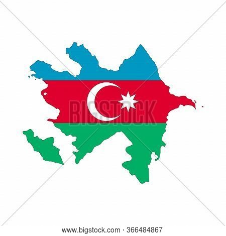 Map Of Azerbaijan. Vector Design Isolated On White Background. Shape Of Azerbaijan Map Filled Up Wit