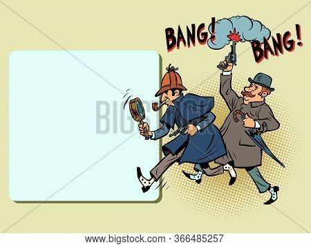 Detective Holmes And Dr. Watson. Comics Caricature Pop Art Retro Illustration Drawing