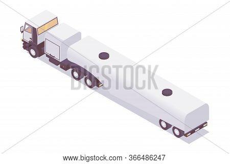 Isometric Jet Fuel Truckplane. Refueling Lorry Tanker
