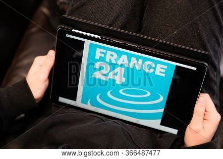 Bordeaux , Aquitaine / France - 11 25 2019 : France 24 Logo Sign Tablet Screen International News An