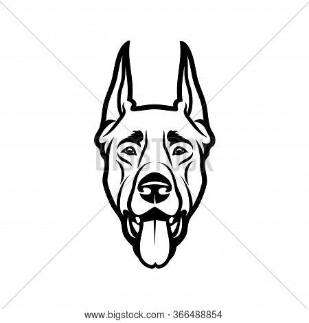 Doberman Pinscher Dog - Isolated Outlined Vector Illustration
