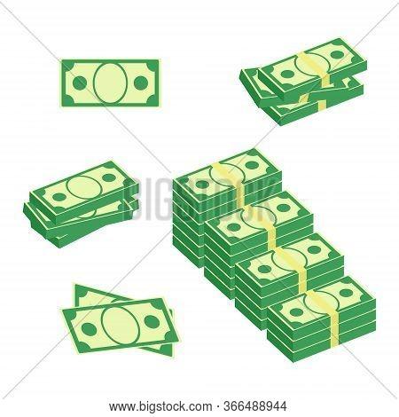 Bundle With Cash Bills. Set Of Different Packs Of Dollar Bills. Isometric Dollars, Investment, Profi