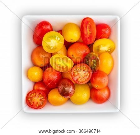 Bowl Of Colorful Cherry Tomatoes (red, Garnet And Yellow), Fresh And Raw. Cut And Whole. Cenital Pla