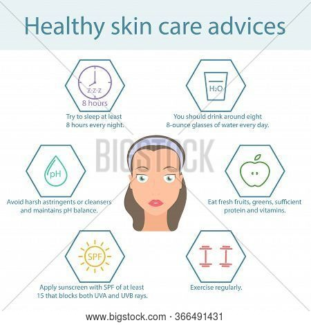 Tips For Skin Care Face. Care For Healthy Skin Face. Infographics On Face Skin Care. Vector Illustra
