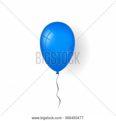 Blue Balloon 3d, Thread, Isolated White Background. Color Glossy Flying Baloon, Ribbon For Birthday