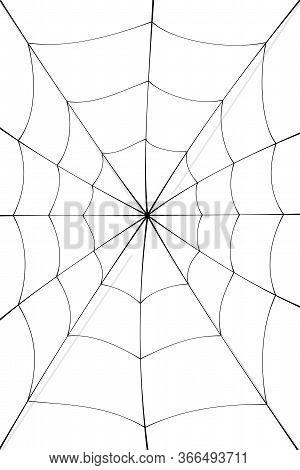Spider Web Cartoon. Black Cobweb Element, Isolated White Background. Spiderweb Silhouette Graphic De
