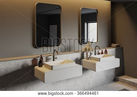 Corner Of Stylish Bathroom With Grey And Stone Walls, Comfortable Double Sink Standing On White Shel