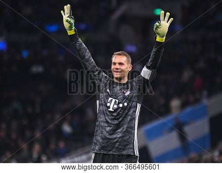 London, England - October 1, 2019: Manuel Neuer Of Bayern Celebrates After A Goal Scored By His Team