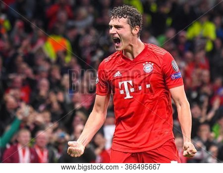 London, England - October 1, 2019: Benjamin Pavard Of Bayern Celebrates After Robert Lewandowski (no
