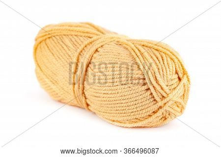 Skein Of Yellow Woolen Yarn Isolated On White Background