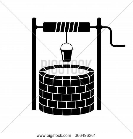 Well And Bucket Icon. Vector Illustration Of An Old Stone Well. Brick Sump.