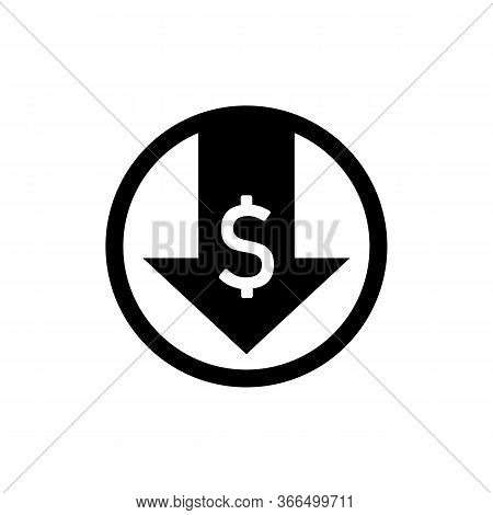 Down Arrow, Dollar Depreciation Icon. Money Value Down On Isolated White Background. Eps 10 Vector.