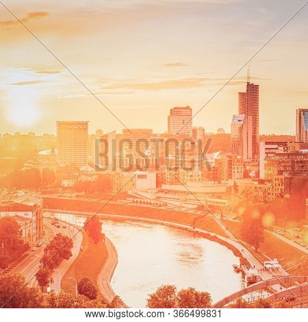 Vilnius, Lithuania. Sunset Sunrise Dawn Over Cityscape In Evening Summer. Beautiful View Of Modern O