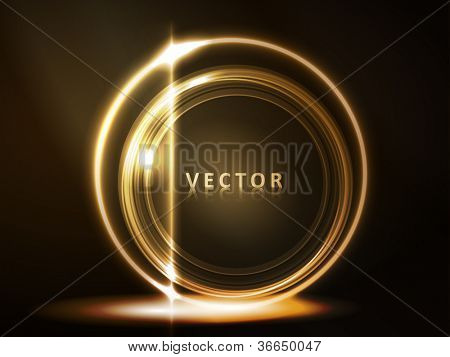 Overlying semitransparent circles with light effects form a golden glowing round frame  on dark brown background. Space for your message, eps10.