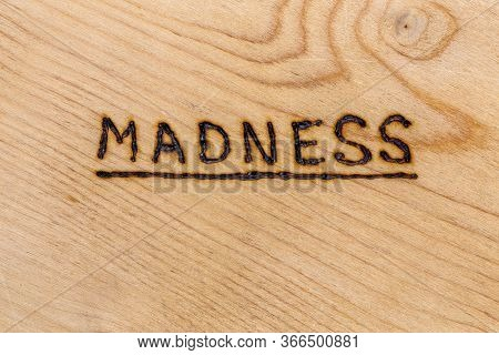The Underlined Word Madness Handwritten With Woodburner On Flat Plywood Surface In Flat Lay Directly