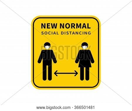 After The Epidemic The Covid-19. People Change To New Normal. Social Distancing. Keep The 1-2 Meter