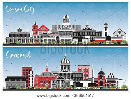 Concord New Hampshire and Carson City Nevada City Skylines Set with Color Buildings and Blue Sky. Business Travel and Tourism Concept with Modern Architecture. Cityscapes with Landmarks.