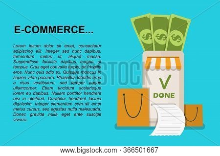 Online Shopping Concept With Text. Money Transfer, Mobile Wallet Concept. Stock Vector Illustration