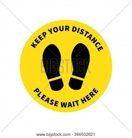 Social Distancing. Footprint Sign. Keep The 2 Meter Distance. Coronovirus Epidemic Protective. Vecto