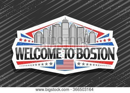 Vector Logo For Boston, White Decorative Badge With Line Illustration Of Modern Boston City Scape On