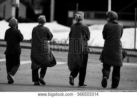 Health-care staff walking down La Fe hospital during the state of alarm for the coronavirus crisis in Valencia, Spain on May 15, 2020.