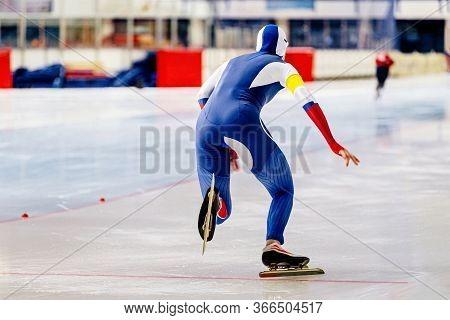 Speed Skating Start Man Speed Skater Athlete