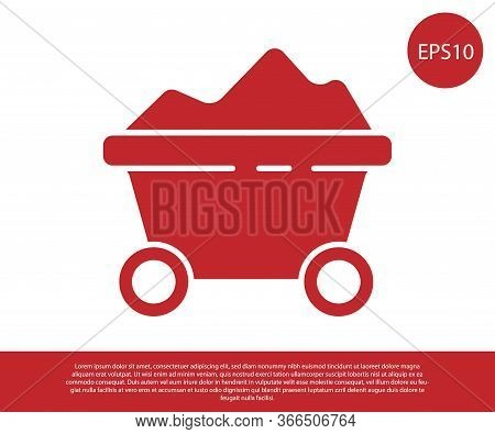 Red Coal Mine Trolley Icon Isolated On White Background. Factory Coal Mine Trolley. Vector