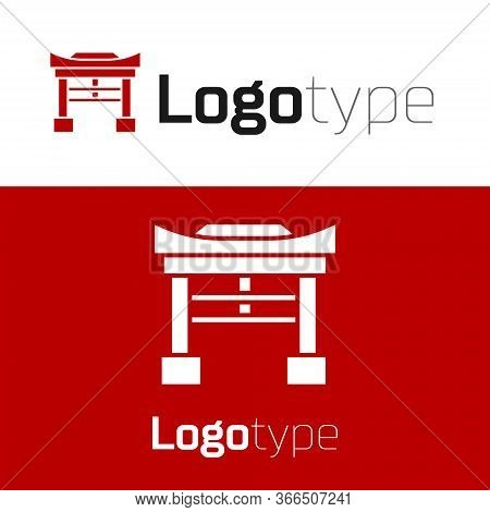 Red Japan Gate Icon Isolated On White Background. Torii Gate Sign. Japanese Traditional Classic Gate