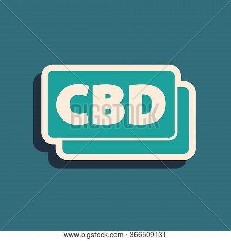 Green Cannabis Molecule Icon Isolated On Green Background. Cannabidiol Molecular Structures, Thc And